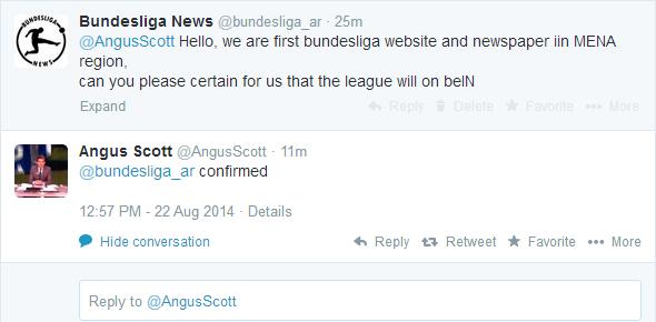 محادثة علنية بين بوندسليغا نيوز وأنغوس سكوت عبر تويتر يؤكد خلالها على إنضمام البوندسليغا للبي إن سبورتس