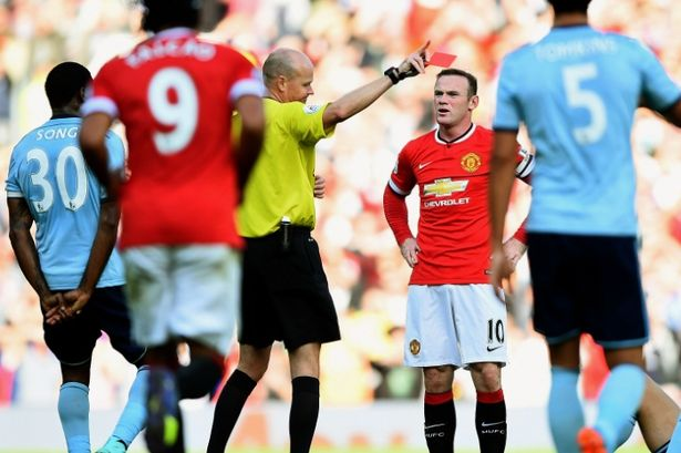 rooney gets red card