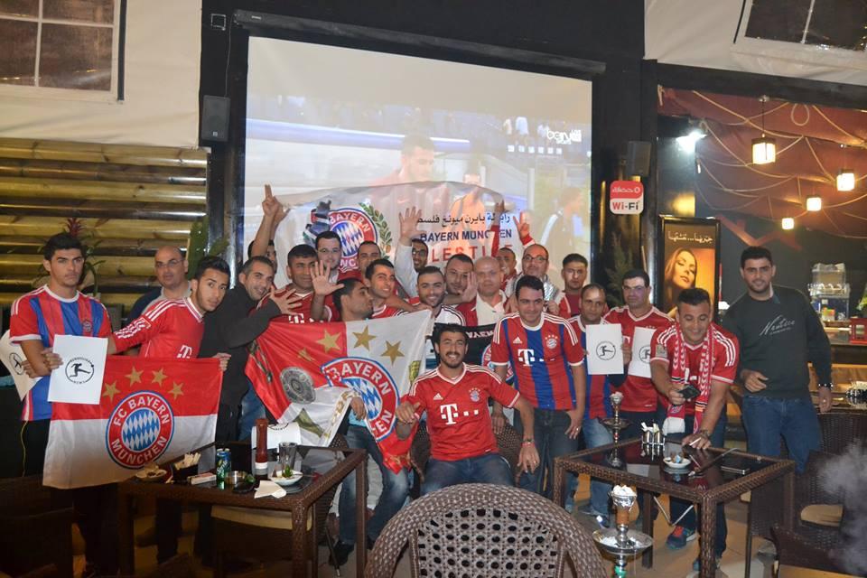 فرحة رابطة مشجعي بايرن ميونخ في فلسطين بعد الفوز على روما