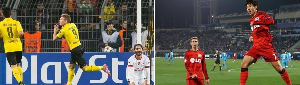 إحتفال لاعبي دورتموند وليفركوزن بالإنتصارات الأوروبية