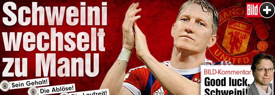 حسب صحيفة بيلد شفاينشتايغر وقع عقداً مع مانشستر يونايتد